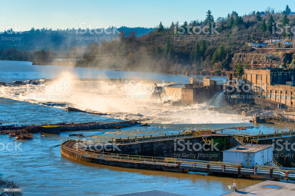 Oregon City's old Power House on Willamette River stock photo