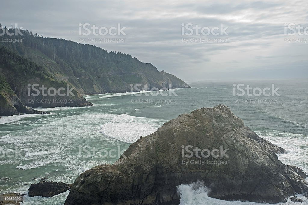 Oregon coast line overlooking the ocean stock photo