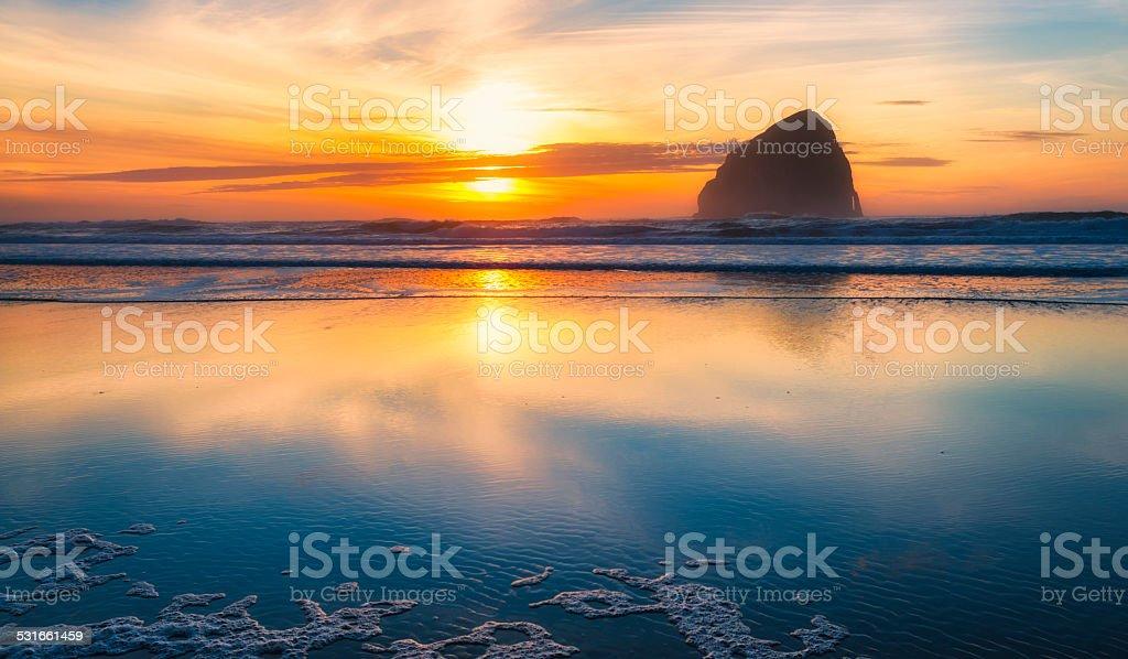 Oregon Coast Pacific City Sunset stock photo