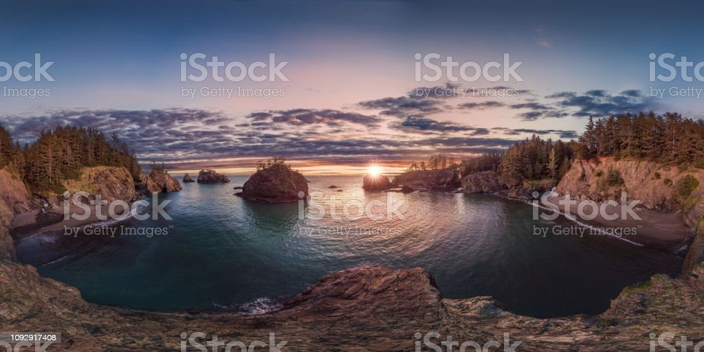 Oregon coast sunset 360 by 180 - Royalty-free 360-Degree View Stock Photo