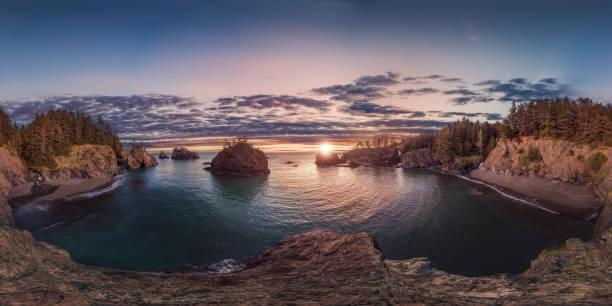 Oregon coast sunset 360 by 180 stock photo