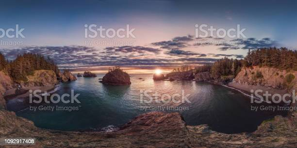 Oregon Coast Sunset 360 By 180 Stock Photo - Download Image Now