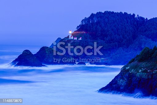 Heceta Head light house at sunset on the Oregon Coast