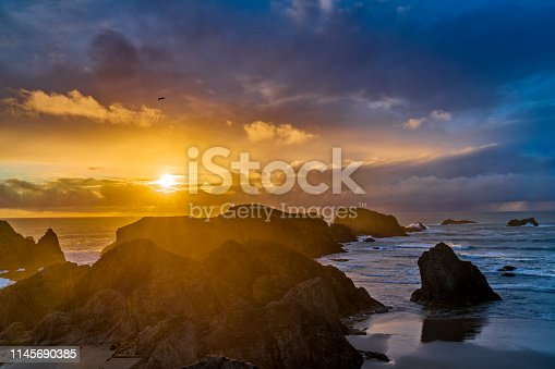Sunset on Sea stack formations off the town of Bandon Beach on the Oregon Coast
