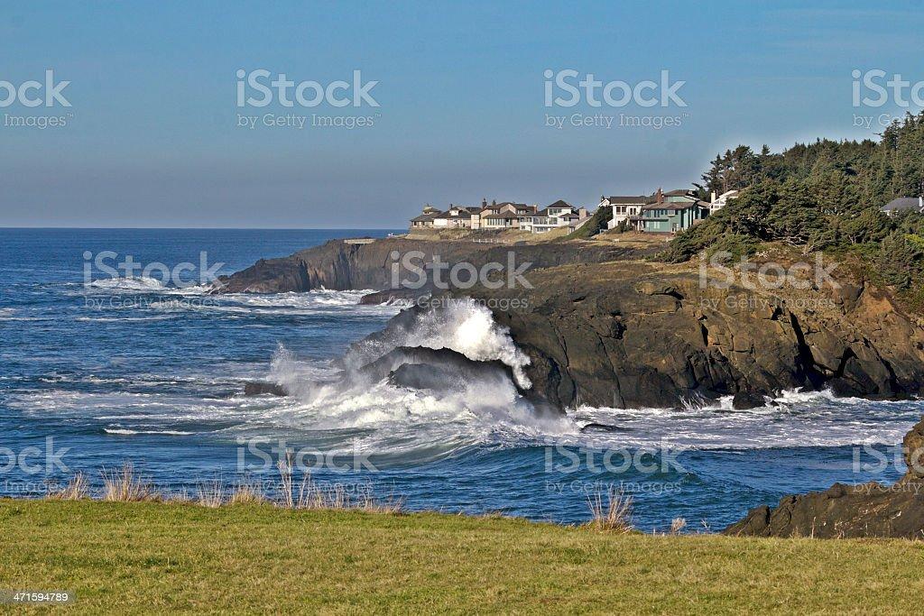 Oregon coastal town stock photo