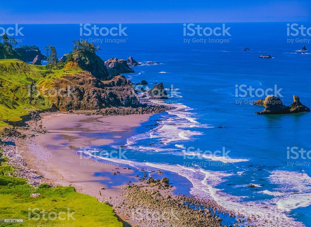 Oregon coastline at Boardman State Park with sea tacks stock photo