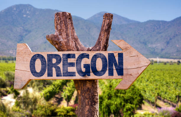 Oregon direction sign stock photo
