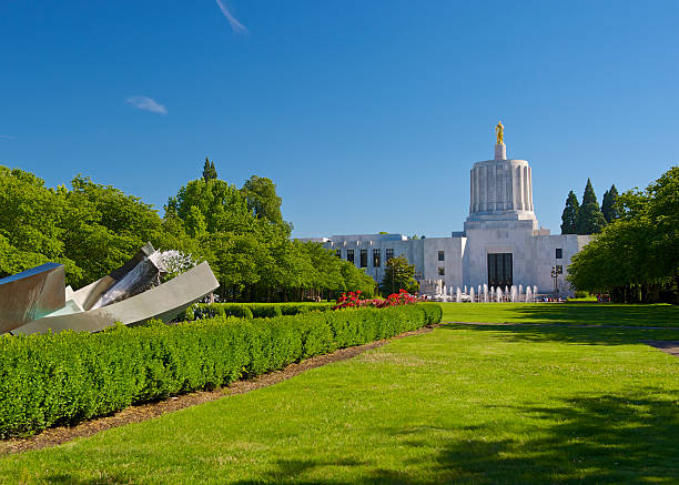 Oregon State Capitol Building and Park Area Blue Sky stock photo