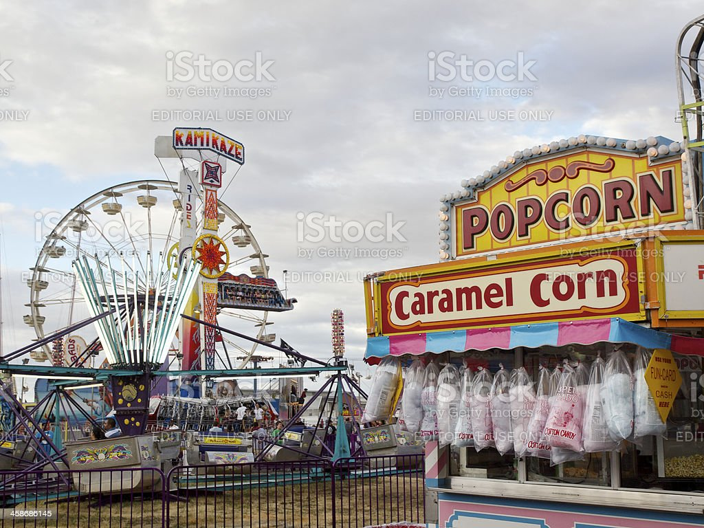Oregon State Fair Concession Stand Cotton Candy Popcorn Carnival Rides stock photo
