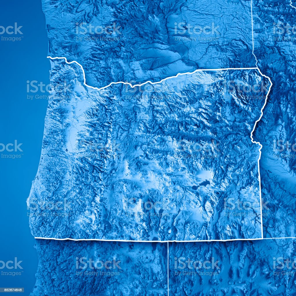 Oregon State Usa 3d Render Topographic Map Blue Border Stock ...