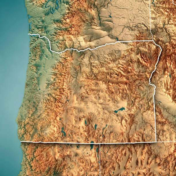 Oregon State Usa 3d Render Topographic Map Border Stock Photo More