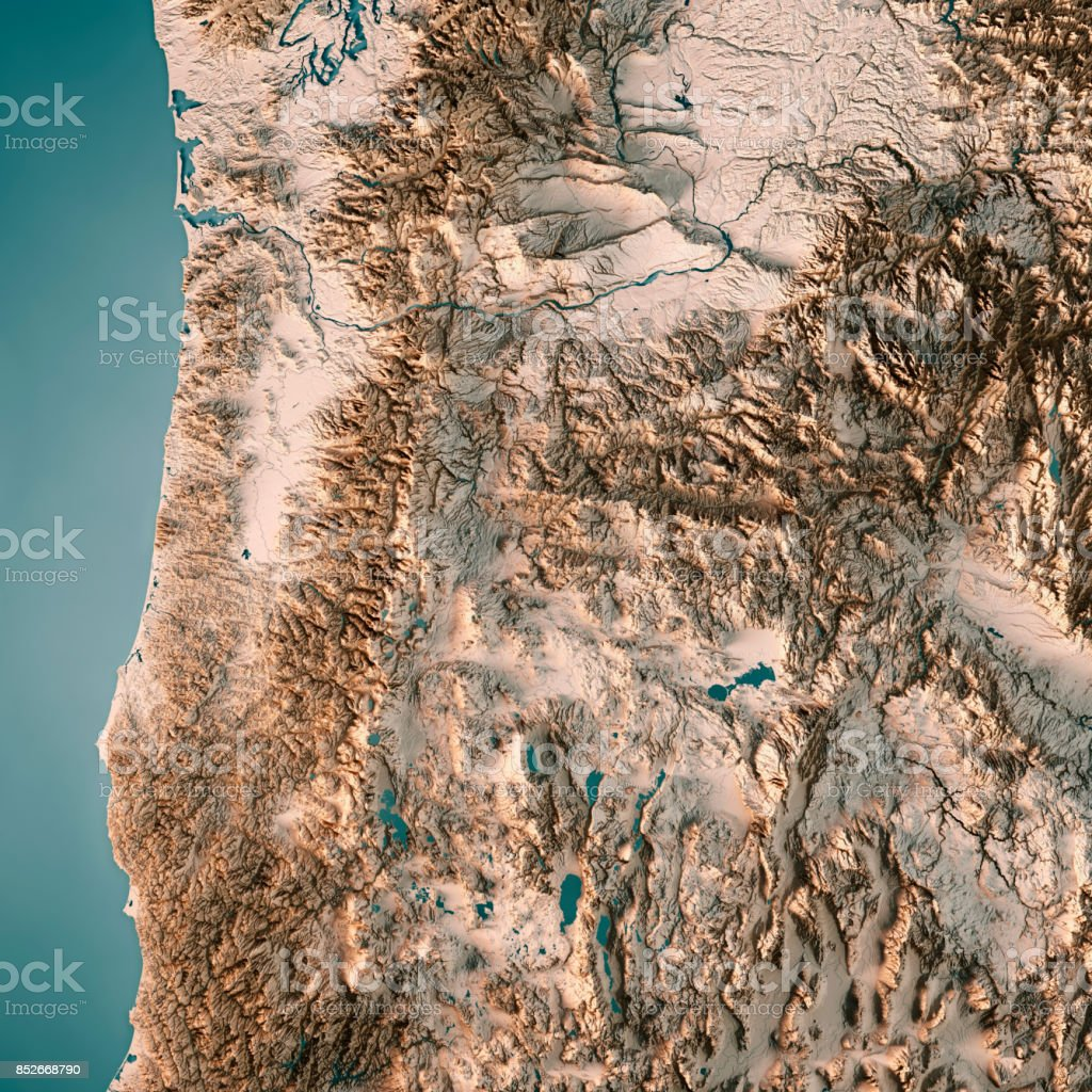 Oregon State Usa 3d Render Topographic Map Neutral Stock Photo