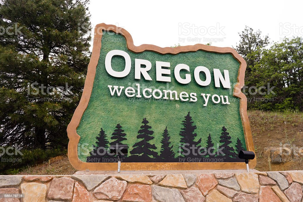 Oregon State Welcome Sign Interstate 5 Northbound Transportation stock photo