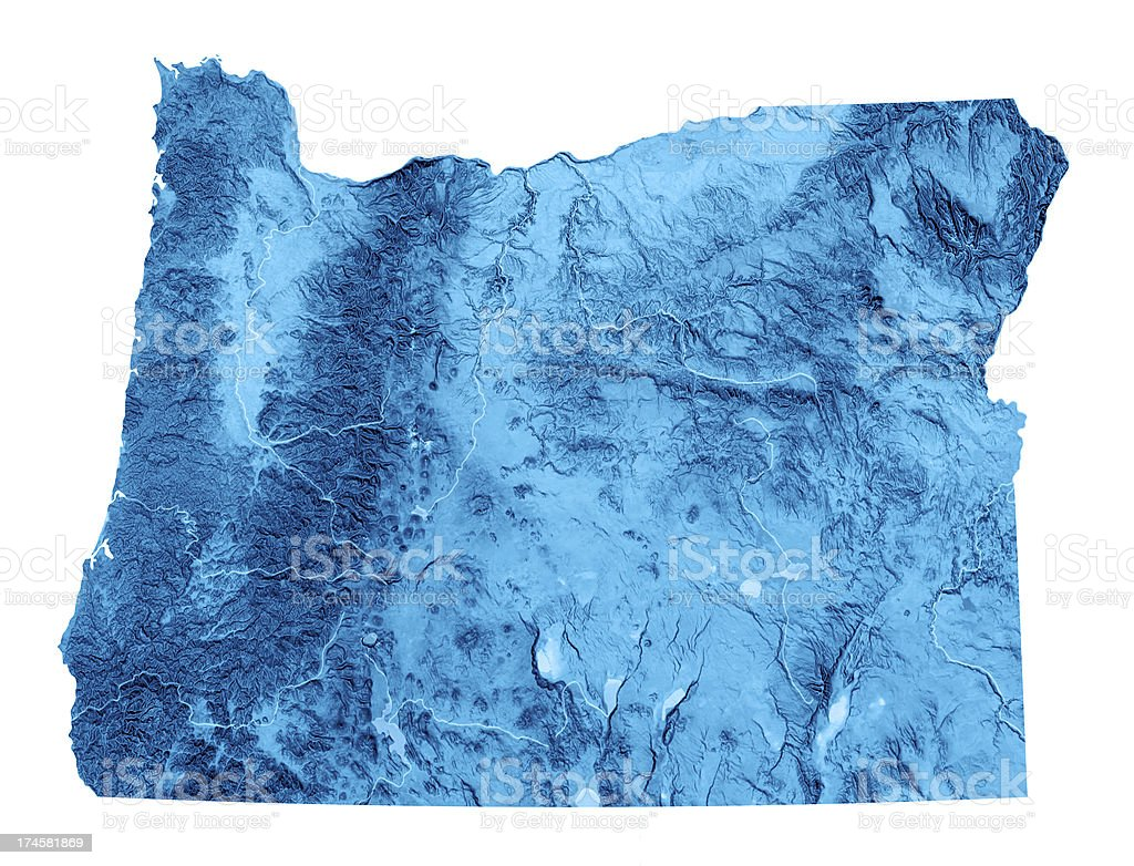 Oregon Topographic Map Isolated Stock Photo More Pictures Of Blue