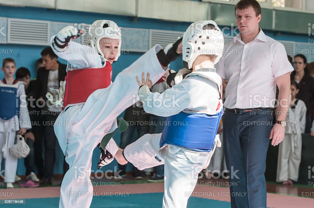 Orenburg, Russia - 23 April 2016: Taekwondo competitions among boys stock photo