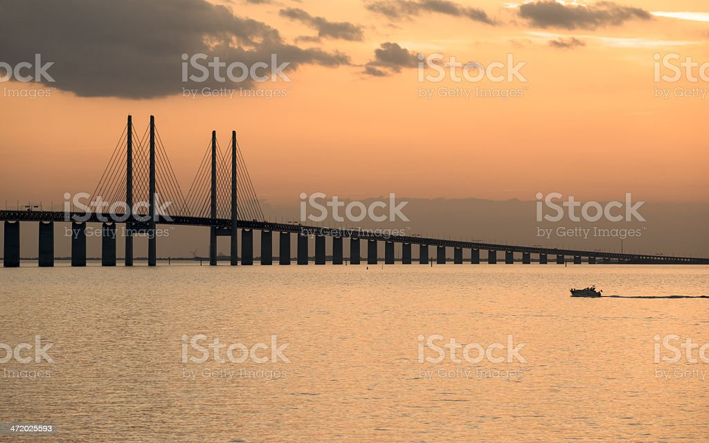 Oresund Bridge at dusk stock photo