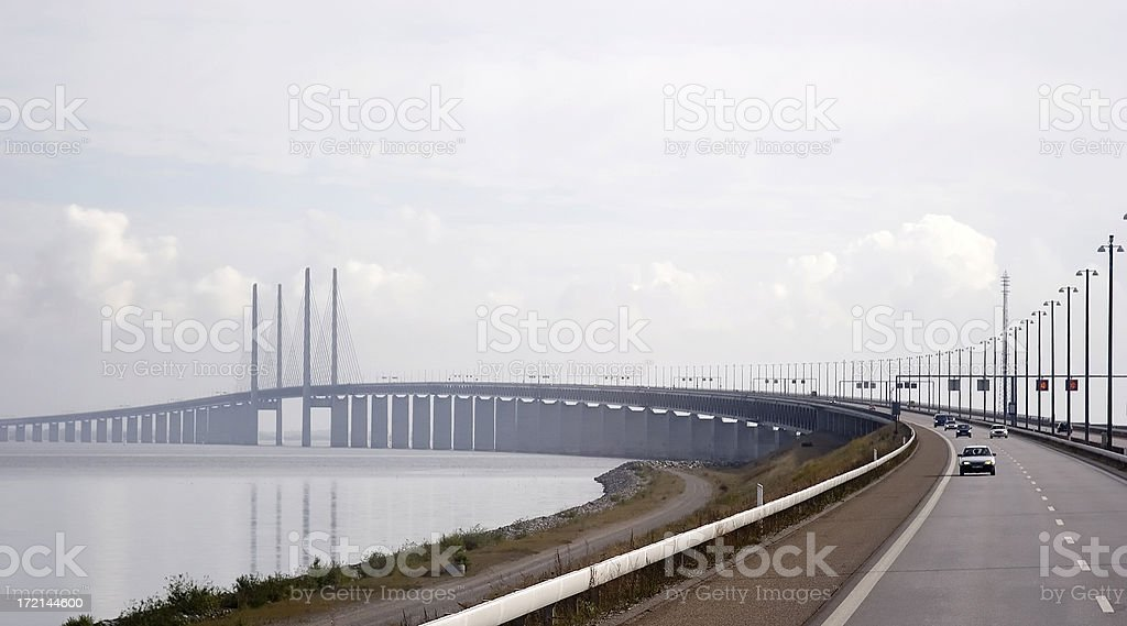Oresund Bridge between Sweden and Denmark stock photo