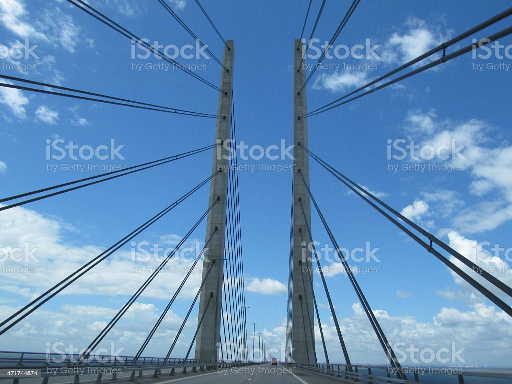 Oresund bridge cable-stayed bridge in Europe stock photo
