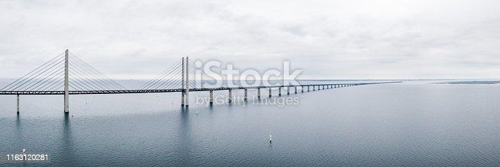 Aerial view of the bridge between Denmark and Sweden, Oresundsbron. Oresund Bridge close up view.