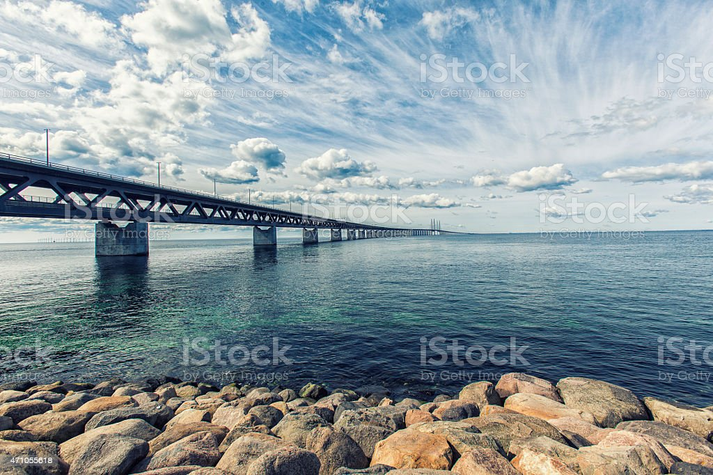 Oresund Bridge,oresunds bron, bridge on the sea ,architecture stock photo