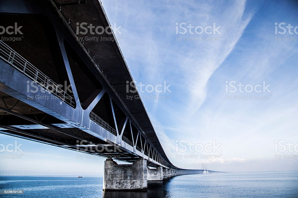 Oresund Bridge,oresunds bron, bridge on the sea stock photo