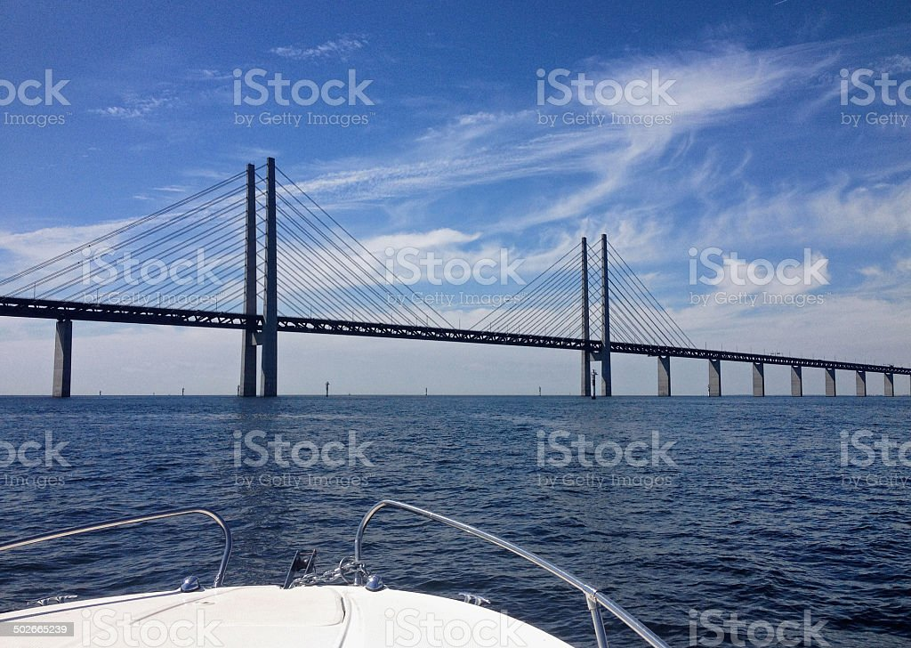 Oresund Link Bridge from boat stock photo
