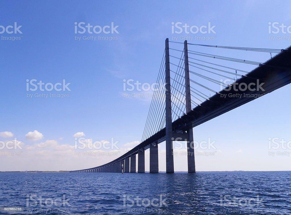 Oresundsbron Bridge The Oresundsbron cable stayed Oresund Link bridge linking Sweden and Denmark over the Oresund water. Blue Stock Photo