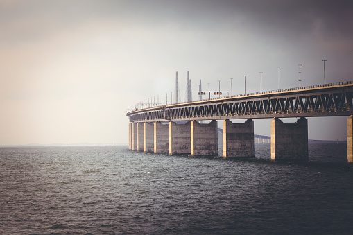 oresundsbron bridge, connecting swedens malmo city with denmarks copenhagen city.
