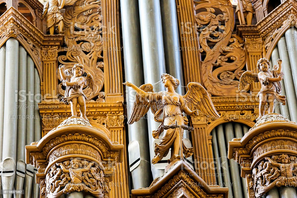 Organ in the Cathedral of Tours, France stock photo