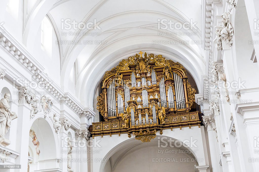 organ of  the baroque Cathedral in Fulda stock photo