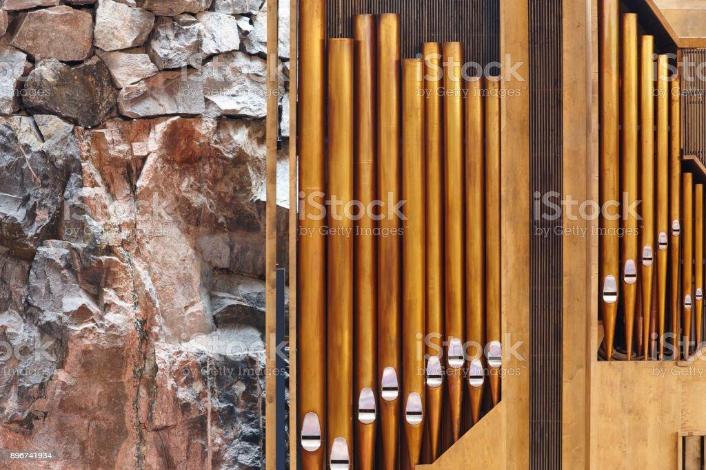 Orgel Rohr Detail auf Helsinki Felsenkirche. Temppeliaukio – Foto