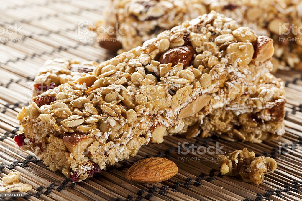 Organic Almond and Raisin Granola Bar royalty-free stock photo