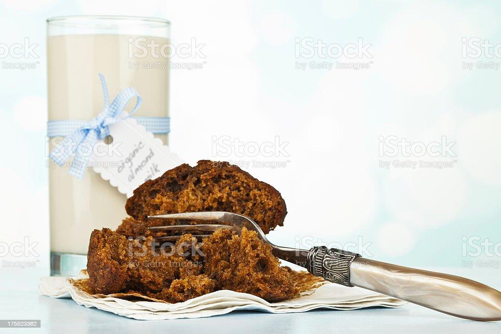 Organic Almond Milk with Bran Raisin Muffin stock photo