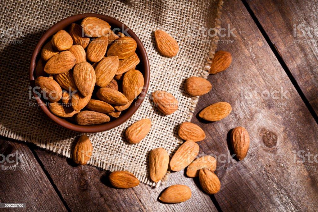 Organic almonds still life stock photo