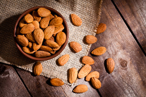 Organic almonds still life stock photo