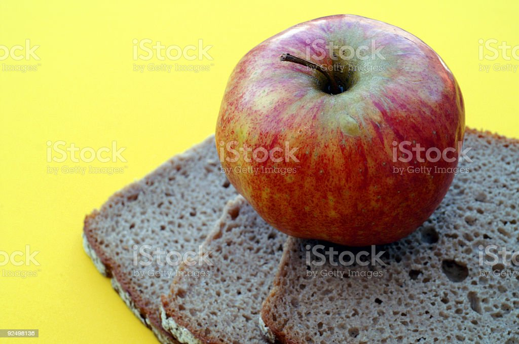 Organic Apple and Bread royalty-free stock photo