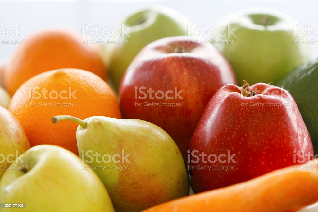 organic apples, oranges and pears stock photo