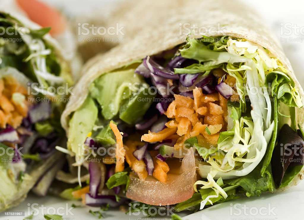 Organic Avocado and vegetables wrap sandwich royalty-free stock photo