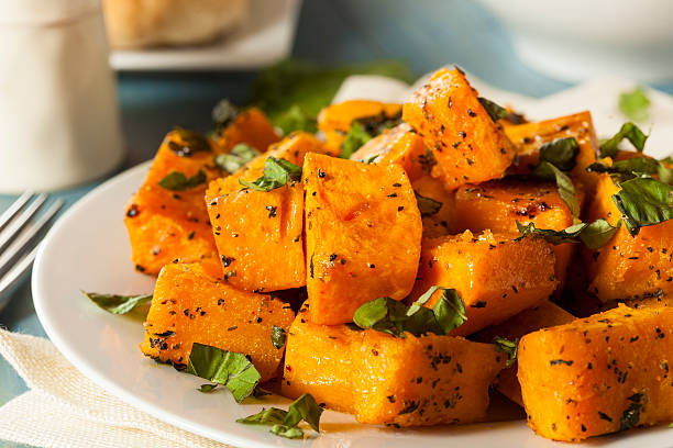 Organic Baked Butternut Squash stock photo