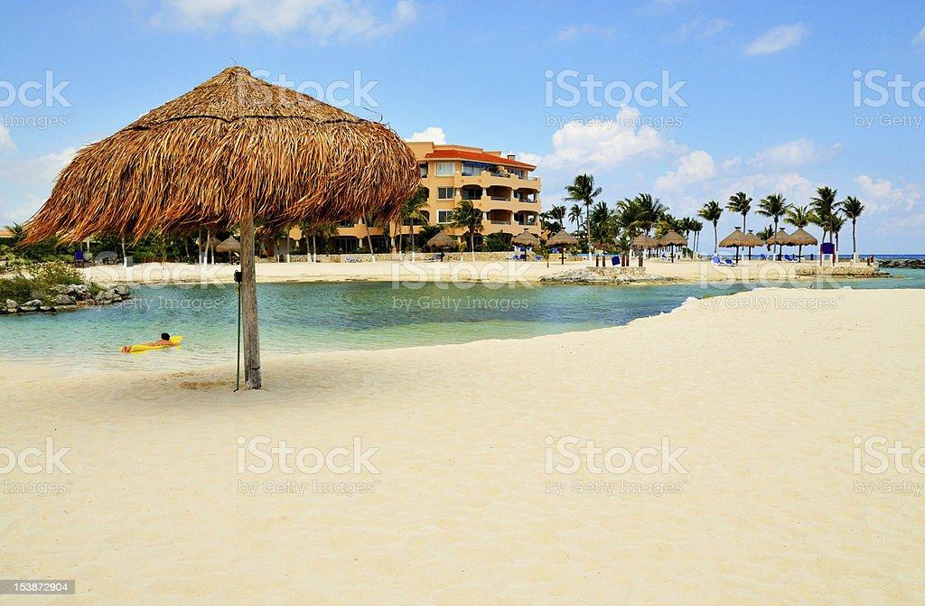 Organic beach umbrella royalty-free stock photo