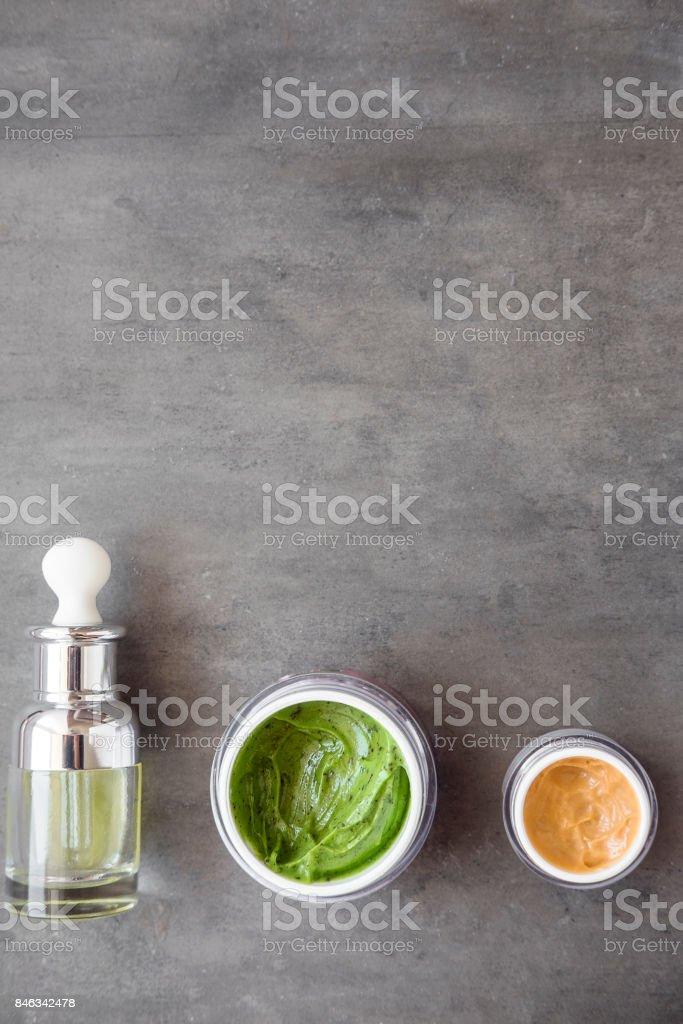 Organic beauty cream, serum and oil stock photo