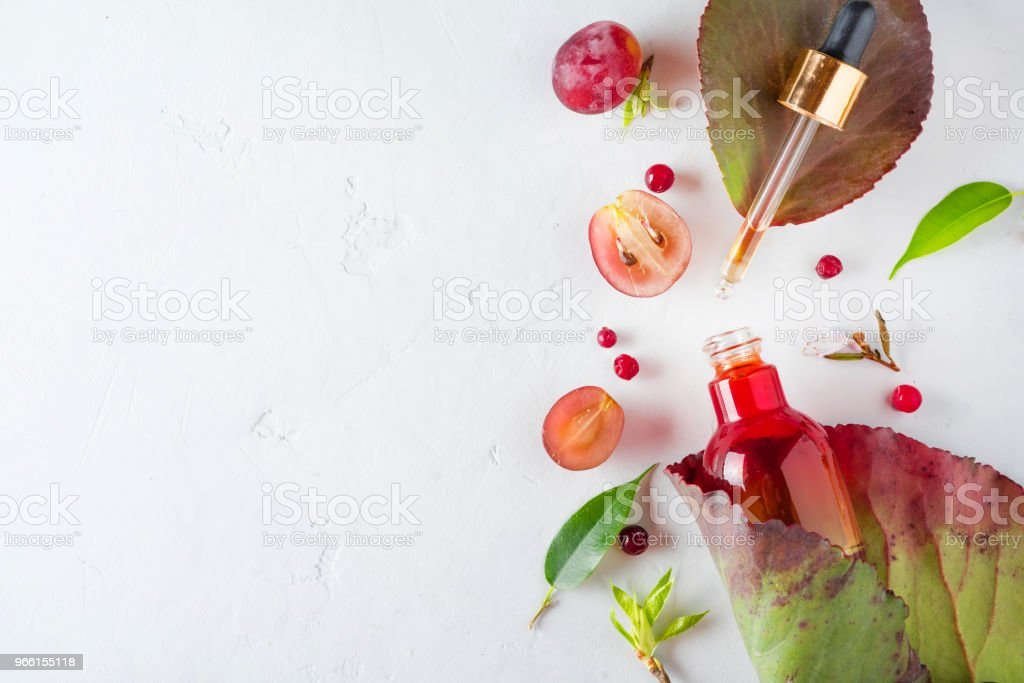 Organic bio cosmetics with herbal ingredients Extract, grape seed oils, serum. Copy Space, flat lay, view from above. - Royalty-free Above Stock Photo