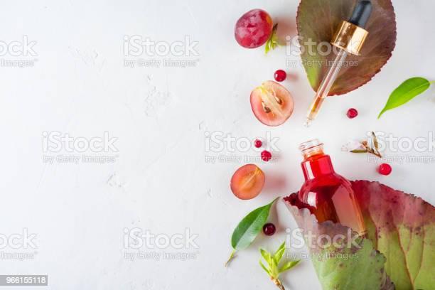 Organic Bio Cosmetics With Herbal Ingredients Extract Grape Seed Oils Serum Copy Space Flat Lay View From Above - Fotografias de stock e mais imagens de Acima