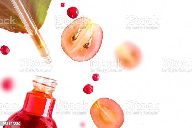 Ekologisk Bio Kosmetika Med Växtbaserade Ingredienser Extrakt Druvkärnor Oljor Serum Kopiera Utrymme Platt Lekmanna Visa Från Ovan-foton och fler bilder på Acne