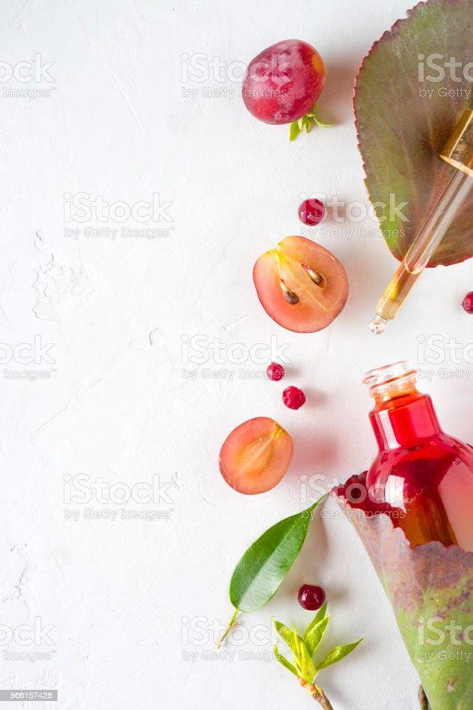 Ekologisk bio kosmetika med växtbaserade ingredienser extrakt, druvkärnor oljor, serum. Kopiera utrymme, platt lekmanna, Visa från ovan. - Royaltyfri Acne Bildbanksbilder