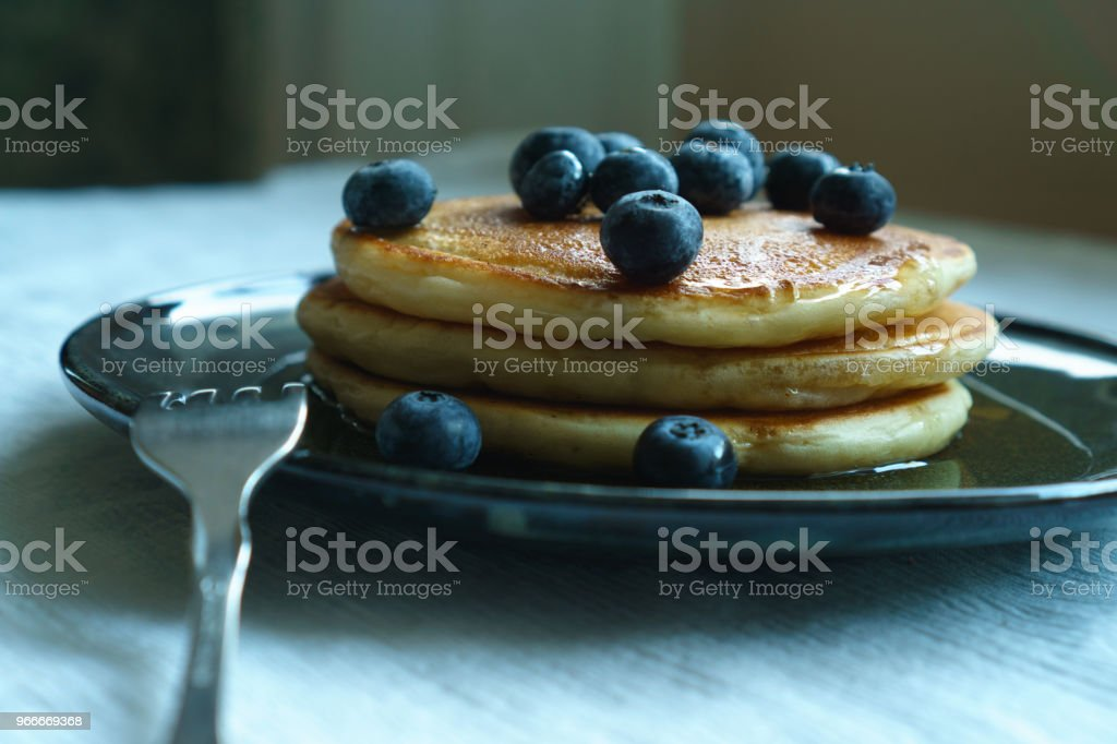 Organic Blueberries and Buttermilk Pancakes stock photo