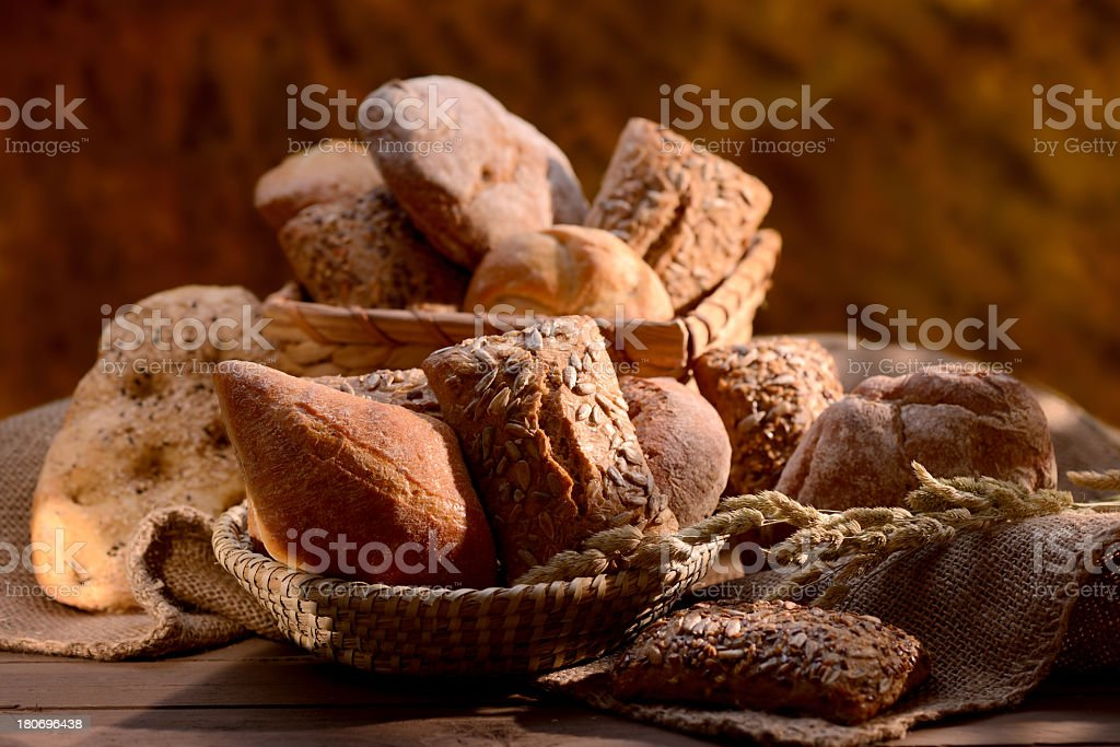 Organic bread assortment royalty-free stock photo