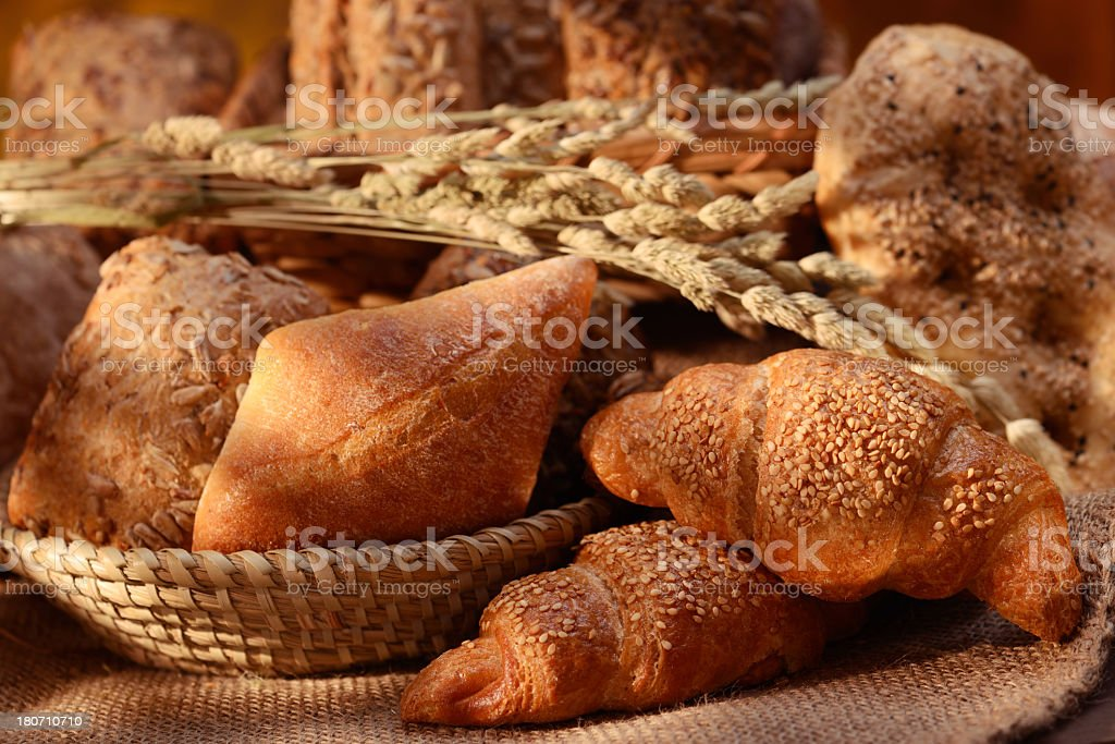 Organic bread assortment with criossants royalty-free stock photo