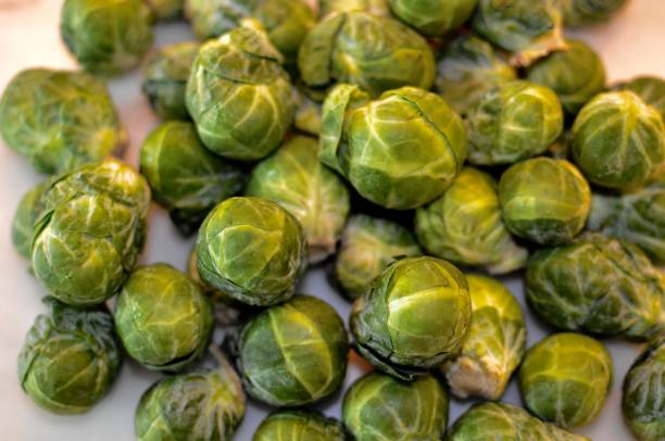 Organic Brussel Sprouts stock photo