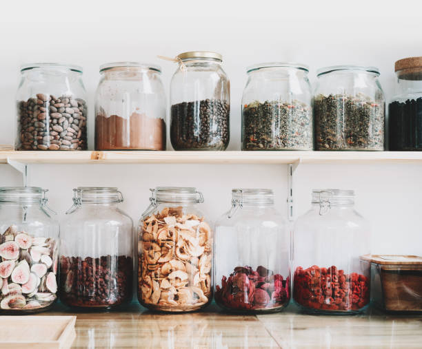 Organic bulk products in zero waste shop. Foods storage in kitchen at low waste lifestyle. stock photo